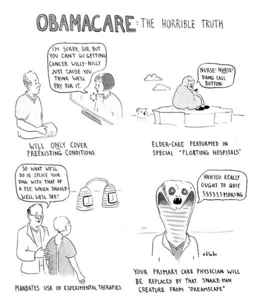 Dna Drawing - Obamacare The Horrible Truth by Emily Flake