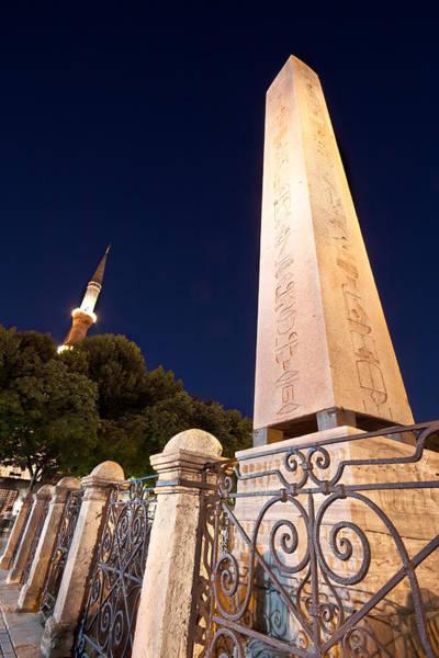 Turkiye Wall Art - Photograph - Obelisk And The Blue Mosque Minaret  by Leyla Ismet