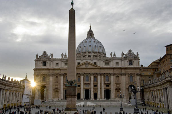St Peters Basilica Photograph - Obelisk In Front Of The St. Peters by Panoramic Images