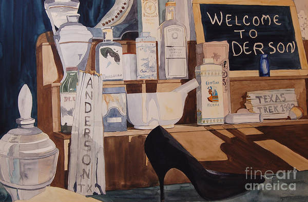 Painting - Oberkamp Drugstore Window by Terry Holliday