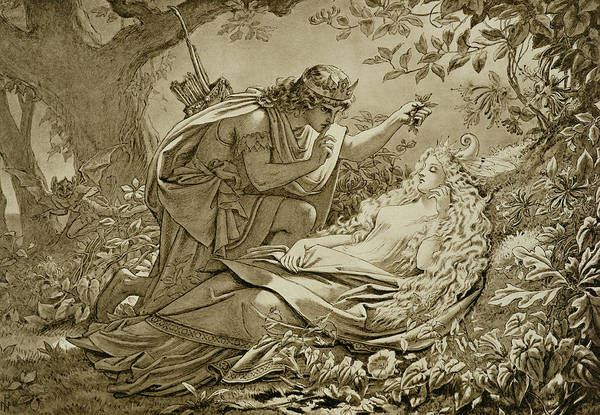 Shakespeare Wall Art - Drawing - Oberon And Titania by English School