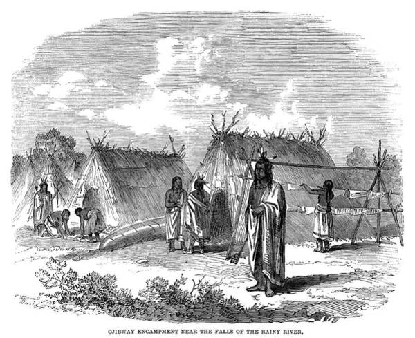 Indian Camp Painting - Obibwa Encampment, 1858 by Granger