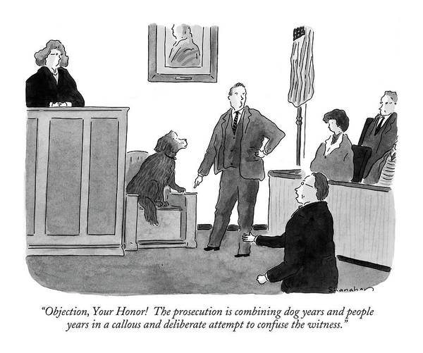 Trials Drawing - Objection, Your Honor!  The Prosecution by Danny Shanahan
