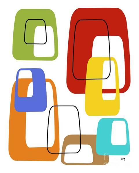Digital Art - Oblongs On White 3 by Donna Mibus