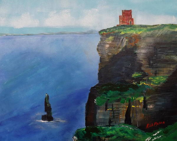 Wall Art - Painting - O'breins Tower On The Cliffs Of Moehr by Rich Mason