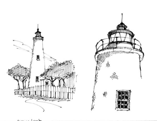 Drawing - Ocaracoke Lighthouse Detail Sketches 1992 by Richard Wambach