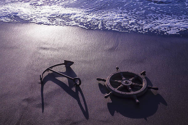 Water Wheel Wall Art - Photograph - Ocean Beach Anchor by Garry Gay