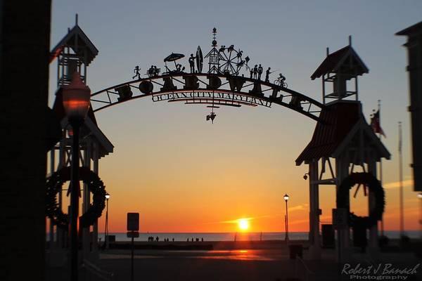 Photograph - Ocean City Boardwalk Arch New Year Sunrise by Robert Banach