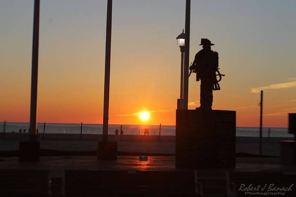 Photograph - Ocean City Firefighters Memorial At Sunrise Jan 1 2015 by Robert Banach