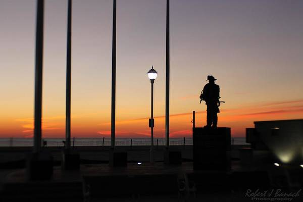 Photograph - Ocean City Firefighter's Memorial At Sunrise by Robert Banach