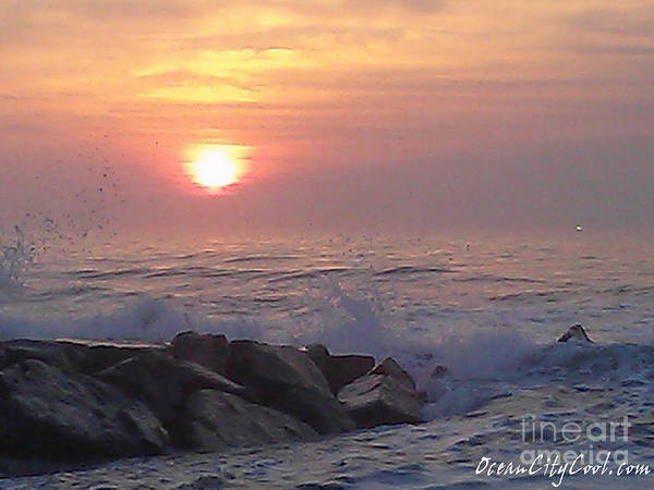 Photograph - Ocean City Inlet Jetty At Sunrise by Robert Banach