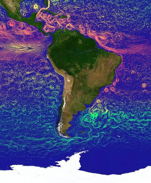 Current Photograph - Ocean Currents Around South America by Karsten Schneider/science Photo Library