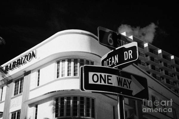 Street Sign Photograph - Ocean Drive And 6th Street In The Art Deco District Of Miami South Beach Florida Usa by Joe Fox