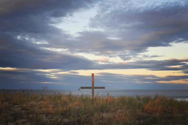 Photograph - Ocean Grove Nj Beach Cross by Terry DeLuco