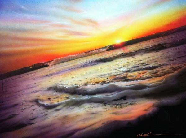 Blue Wave Painting - Ocean Infinity by Christian Chapman Art