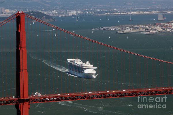 Princess Cruise Lines Photograph - Ocean Liner And The Golden Gate Bridge by Wernher Krutein
