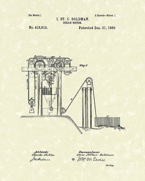 Ocean Drawing - Ocean Motor 1889 Patent Art by Prior Art Design