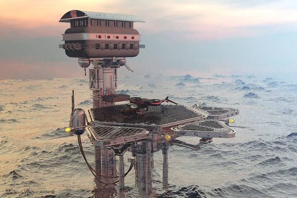 Speed Boat Digital Art - Ocean Refueling Platform by Michael Wimer