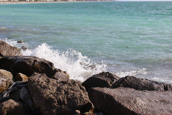 Photograph - Ocean Spray On Rocks by John Mathews