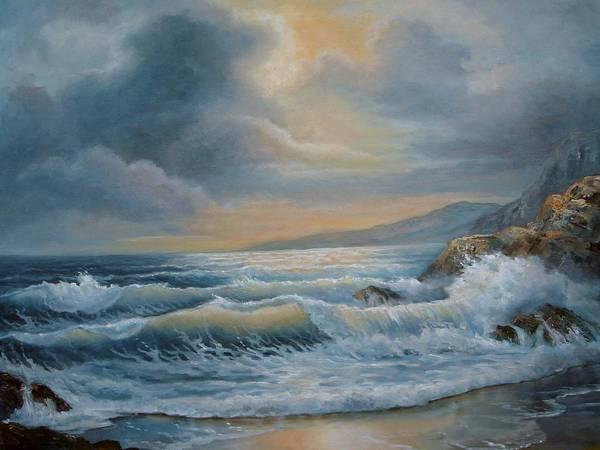 Wall Art - Painting - Ocean Under The Evening Glow by Regina Femrite