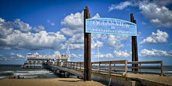 Ocean View Fishing Pier Color Art Print by Williams-Cairns Photography LLC