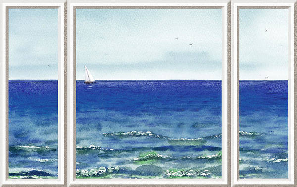 Baltic Sea Painting - Ocean View Window by Irina Sztukowski