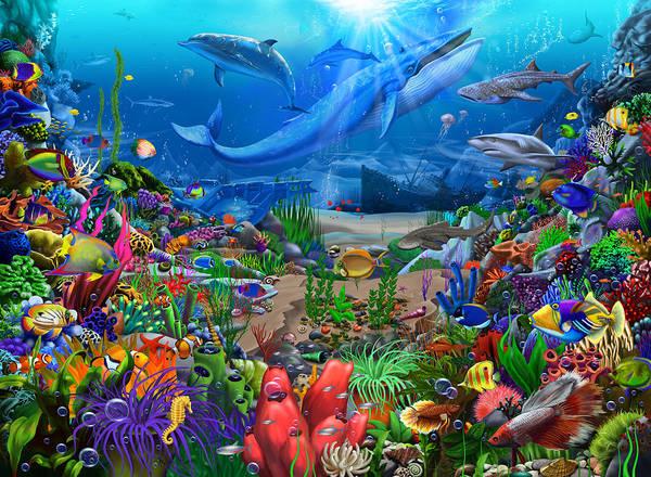 Wall Art - Painting - Ocean Wonders by MGL Meiklejohn Graphics Licensing