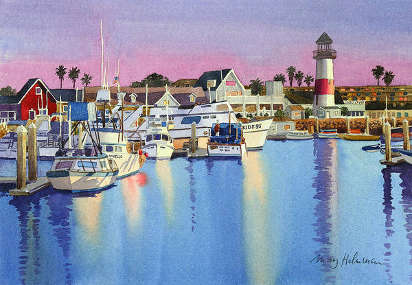 Pacific Wall Art - Painting - Oceanside Harbor At Dusk by Mary Helmreich
