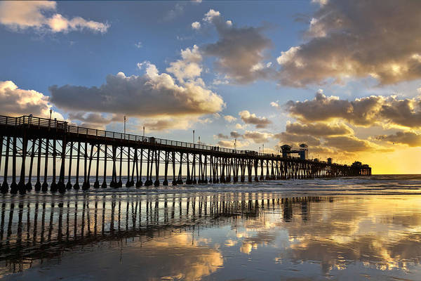 Photograph - Oceanside Pier Sunset Reflection by Peter Tellone