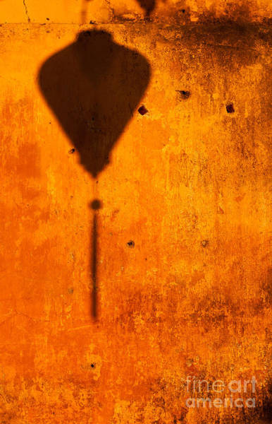 Photograph - Ochre Wall Lantern Shadow by Rick Piper Photography