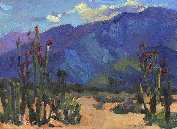Desert Scene Painting - Ocotillos At Smoke Tree Ranch by Diane McClary