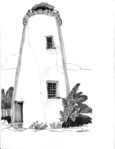 Drawing - Ocracoke Light 1970s by Richard Wambach
