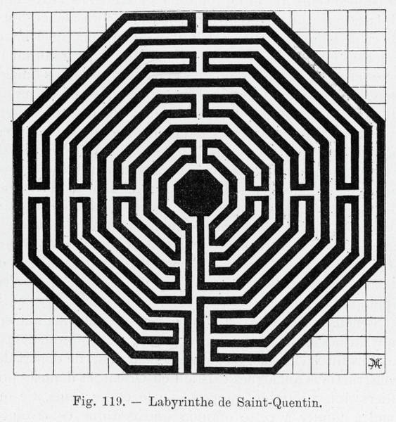 Folklore Drawing - Octagonal Maze In The Cathedral by Mary Evans Picture Library