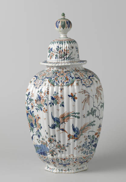 Lid Painting - Octagonal Ribbed Vase With Lid Multicolored Painted Faience by Quint Lox