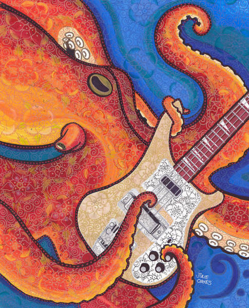 Bass Guitar Painting - Octo-bass by Julie Oakes