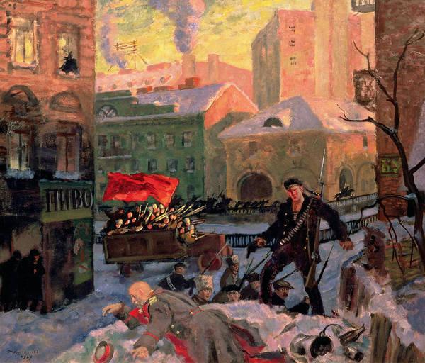 Bolshevik Painting - October 1917 In Petrograd by Boris Mihajlovic Kustodiev