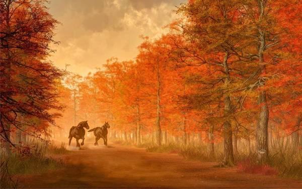Digital Art - October Road by Daniel Eskridge