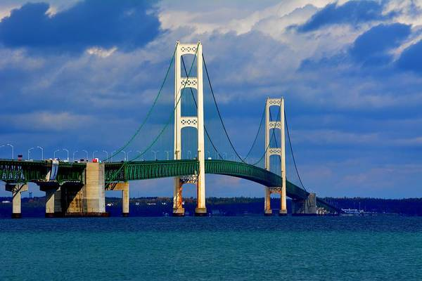 Photograph - October Sky Mackinac Bridge by Keith Stokes