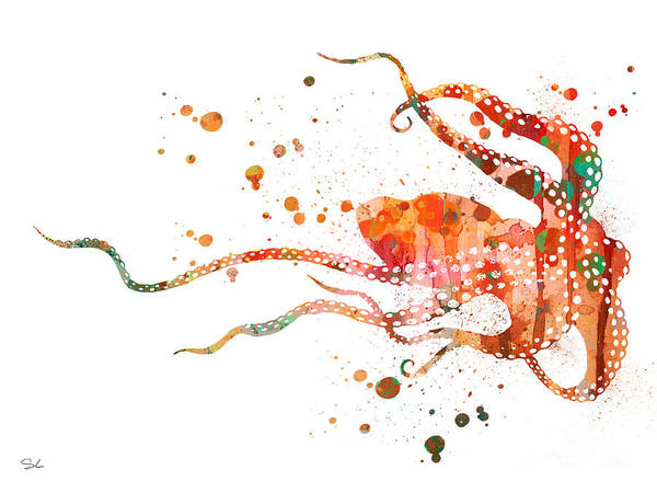 Octopus Painting - Octopus 2 by Watercolor Girl