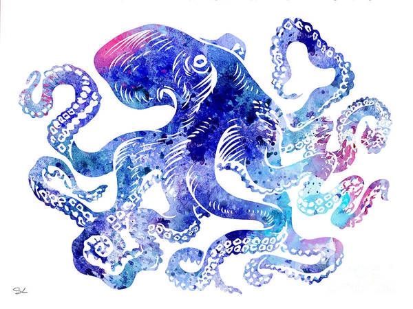 Octopus Painting - Octopus 5 by Watercolor Girl