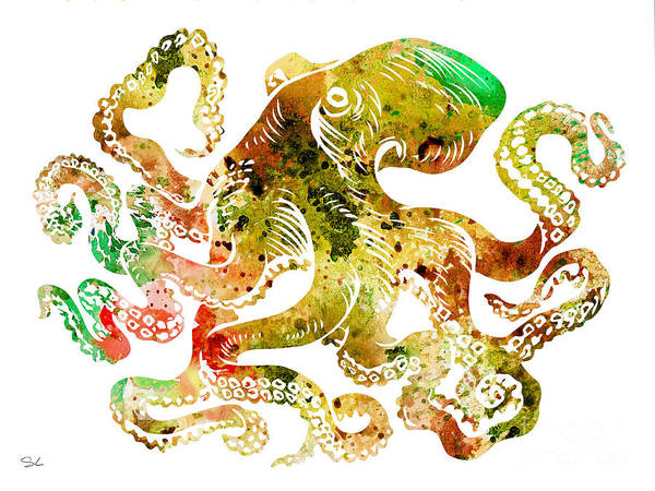 Octopus Painting - Octopus 6 by Watercolor Girl