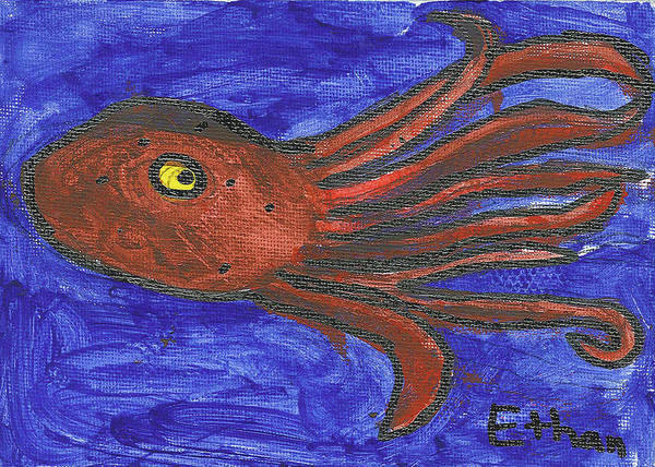 Painting - Octopus In The Deep Blue by Fred Hanna