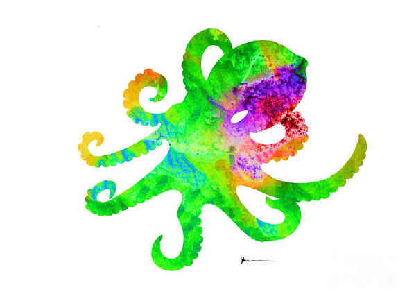 Octopus Painting - Octopus Silhouette Art Print Watercolor Painting by Joanna Szmerdt