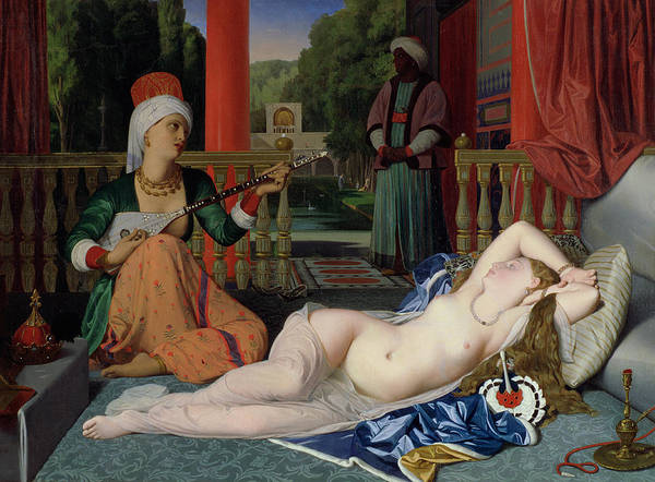 Unclothed Wall Art - Painting - Odalisque With Slave by Ingres