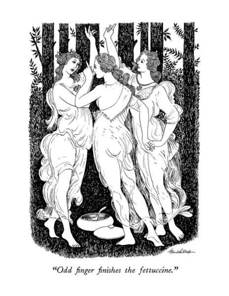 Botticelli Wall Art - Drawing - Odd Finger Finishes The Fettuccine by J.B. Handelsman