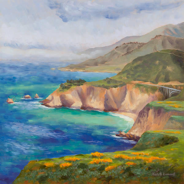 Big Sur Wall Art - Painting - Ode To Big Sur by Karin  Leonard
