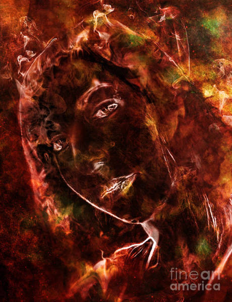 Wall Art - Digital Art - Ode To The Girl On Fire by Michael Volpicelli