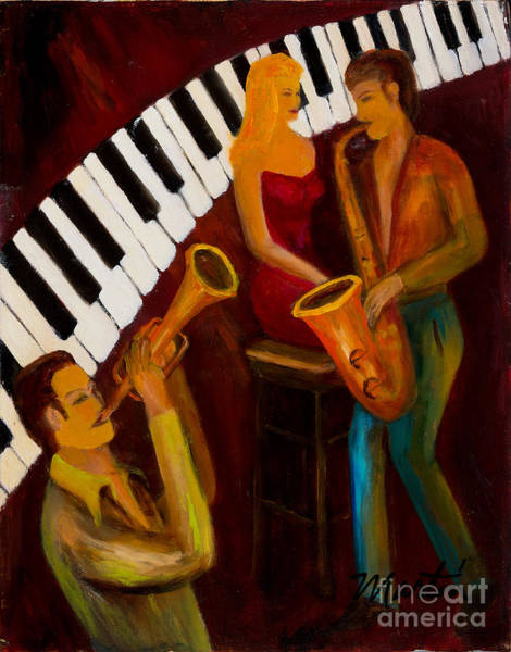 Sax Painting - Ode To The Strawberry Blond by Larry Martin