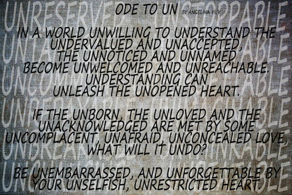 Unopened Wall Art - Mixed Media - Ode To Un by Angelina Tamez