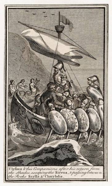 Wall Art - Drawing - Odysseus And His Men Encounter Sirens by Mary Evans Picture Library
